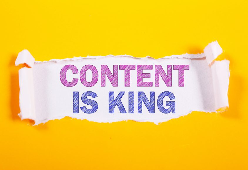 Baner mówiący o tym, iż content strony jest bardzo ważny
