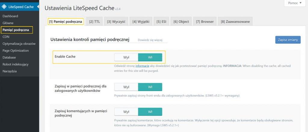 włączanie wtyczki litespeed cache w WordPressie