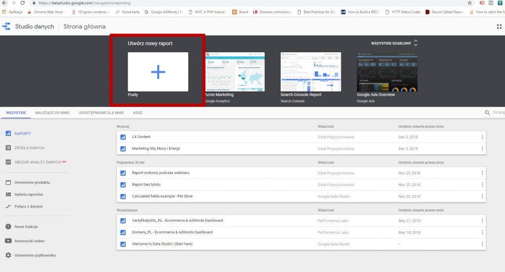 Google Data Studio - jak zacząć tworzenie raportu