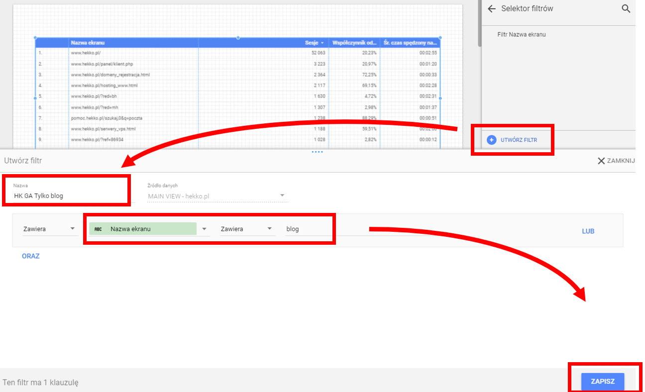 Google Data Studio tworzymy filtr cząstkowy