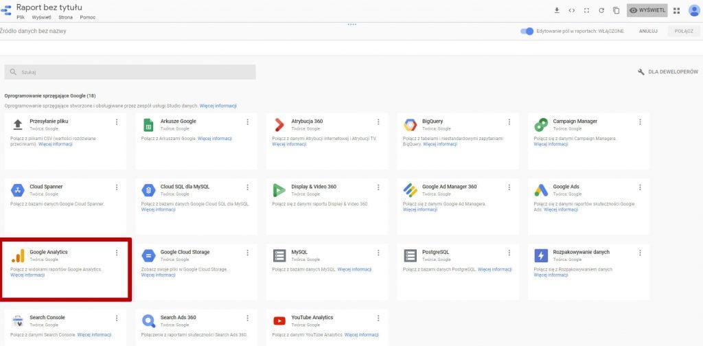 Google Data Studio dodajemy źródło danych