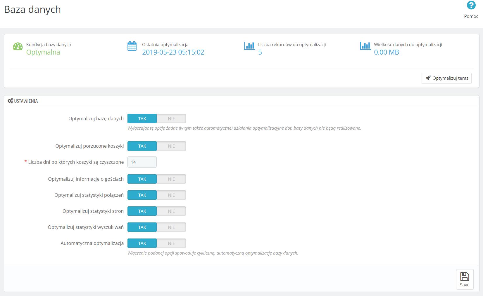 Widok sekcji 'Baza danych' modułu PrestaShop BoostTM