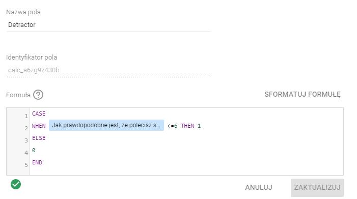 Net Promoter Score - definicja segmentu detraktorów w Google Data Studio