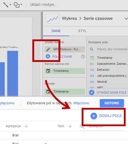 Google Data Studio - jak dodać własne pole użytkownika?
