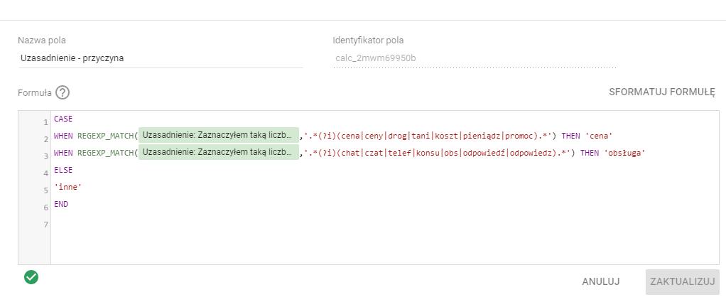 Google Data Studio i formuła klasyfikująca odpowiedzi Net Promoter Score