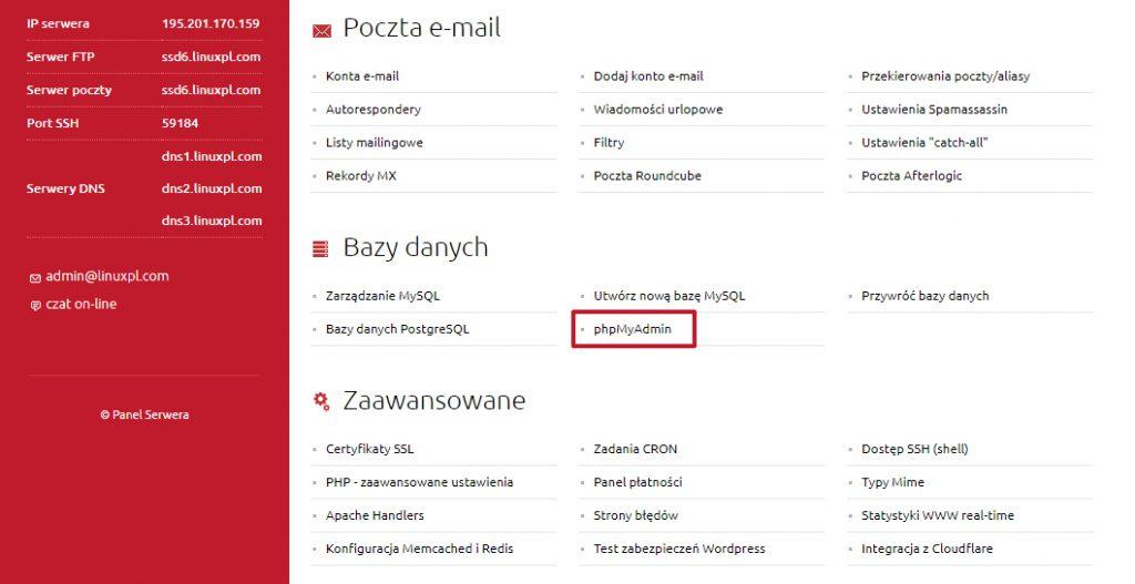 Jak się dostać do phpMyAdmin w linuxpl.com
