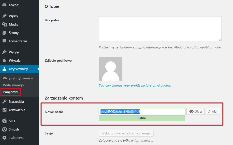 jak zmienić hasło do WordPressa w profilu użytkownika