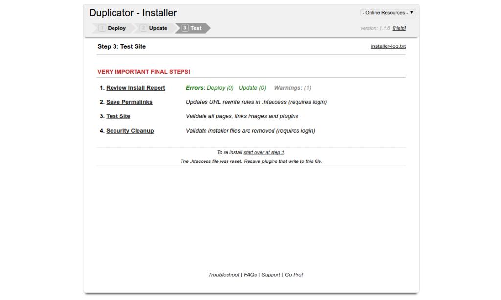 Jak przenieść WordPress'a z użyciem Duplicatora - zrzut ekranowy