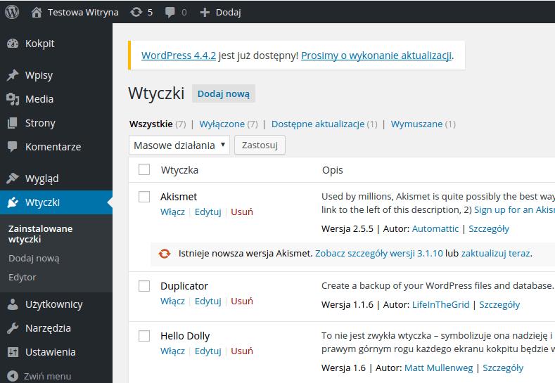 Jak przenieść wordpressa? Instalacja wtyczki duplicator zrzut ekranowy.