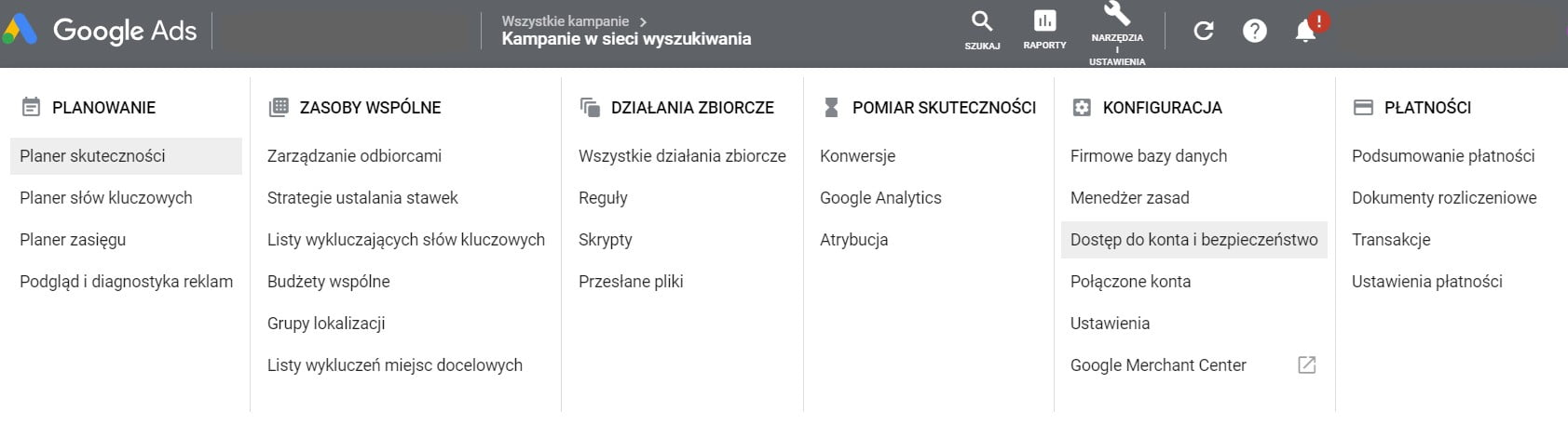 dostęp do konta google ads