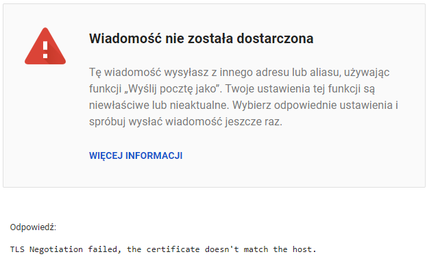 TLS Negotiation failed, the certificate doesn't match the host.