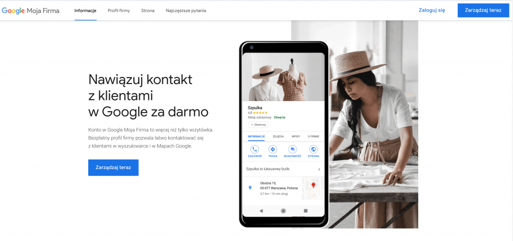 Ekran startowy w systemie wizytówek w Google Moja Firma -