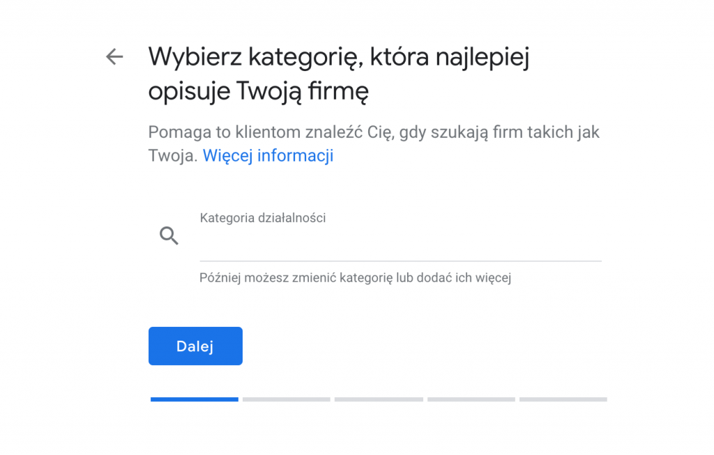Wizytówka w Google Moja Firma - Wybór kategorii.