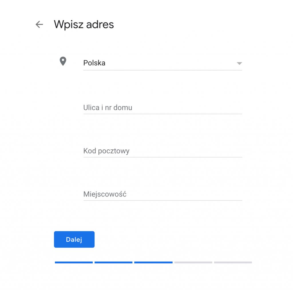 Wizytówka w Google Moja Firma - ekran z podstawowymi danymi adresowymi.
