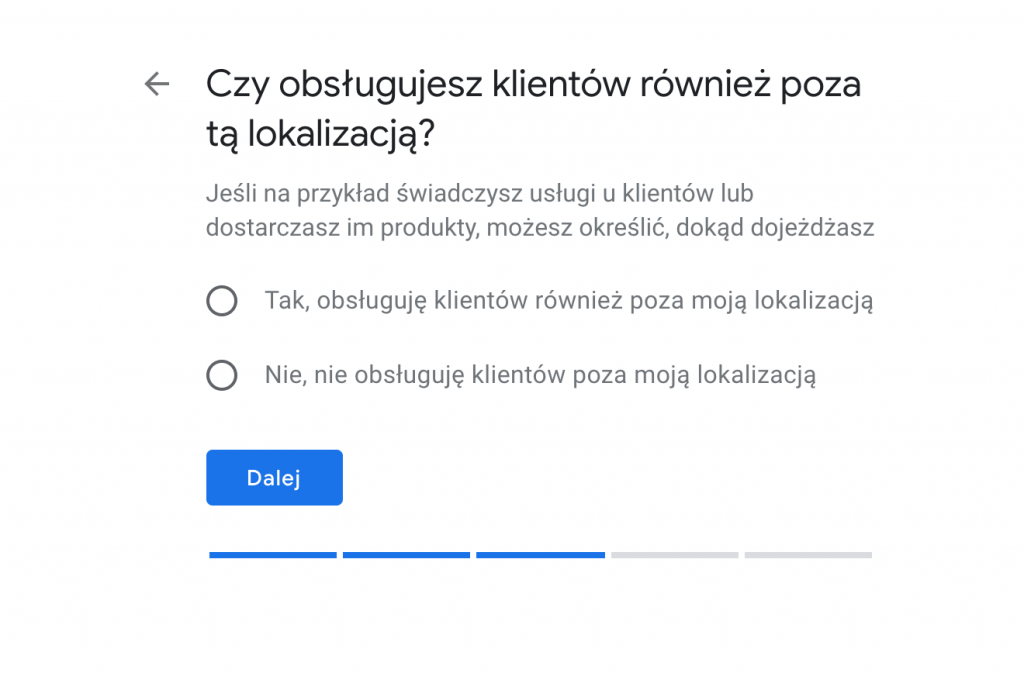 Wizytówka w Google Moja Firma - podanie informacji o obsłudze poza lokalizacją.