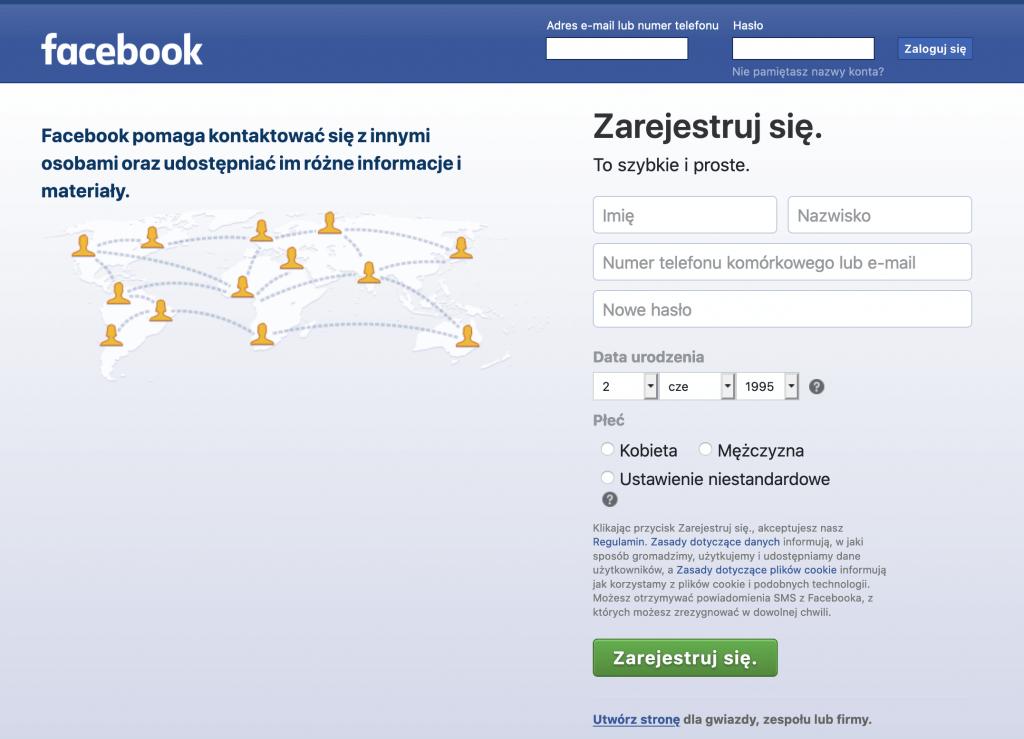 Jak założyć stronę na facebooku - rejestracja