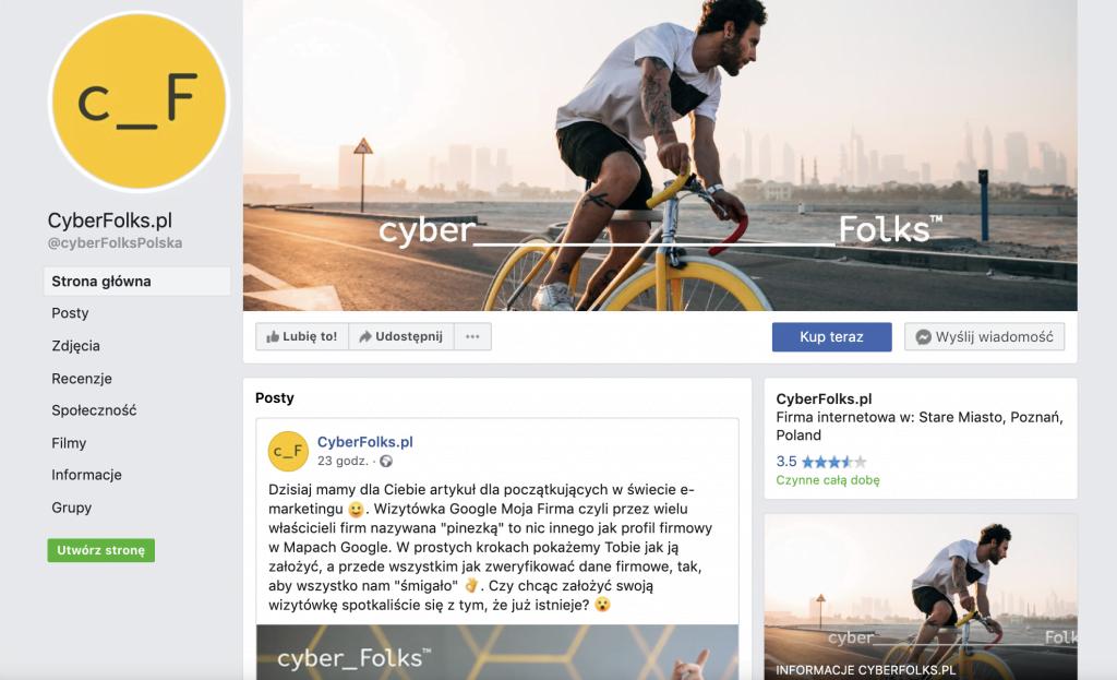 Facebook - strona firmy cyberfolks.pl