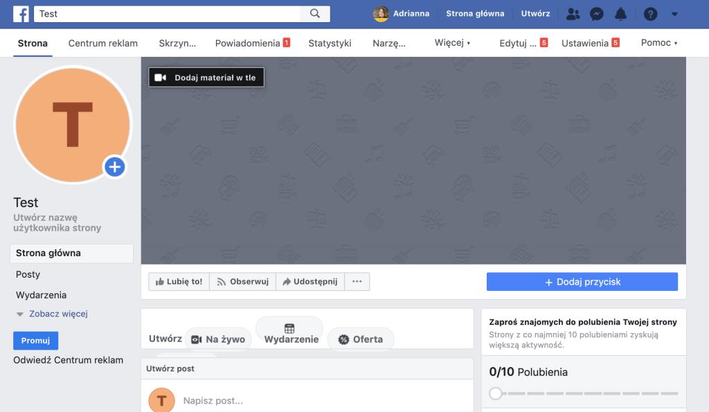 Widok fanpage'a strony firmowej po utworzeniu na Facebooku