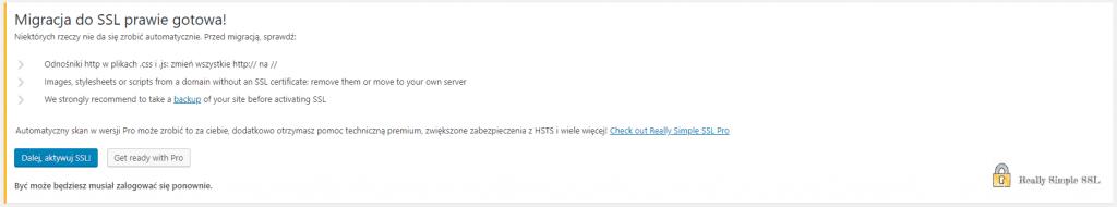aktywacja wtyczki Really Simple SSL