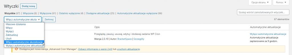 masowe działania w WordPress