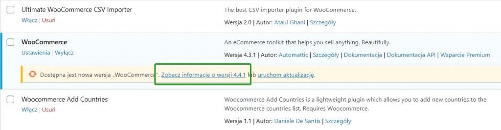 changelog WordPress z listy wtyczek