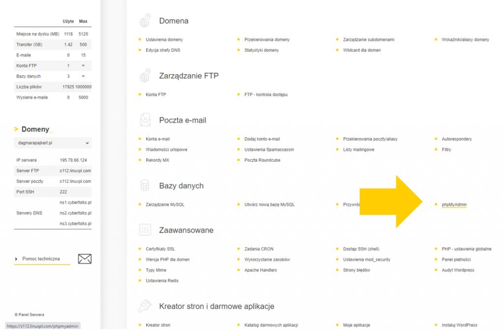 Backup WordPress - narzędzie phpMyAdmin pozwala wykonać kopię bazy danych. Zrzut z ekranu panelu DirectAdmin.