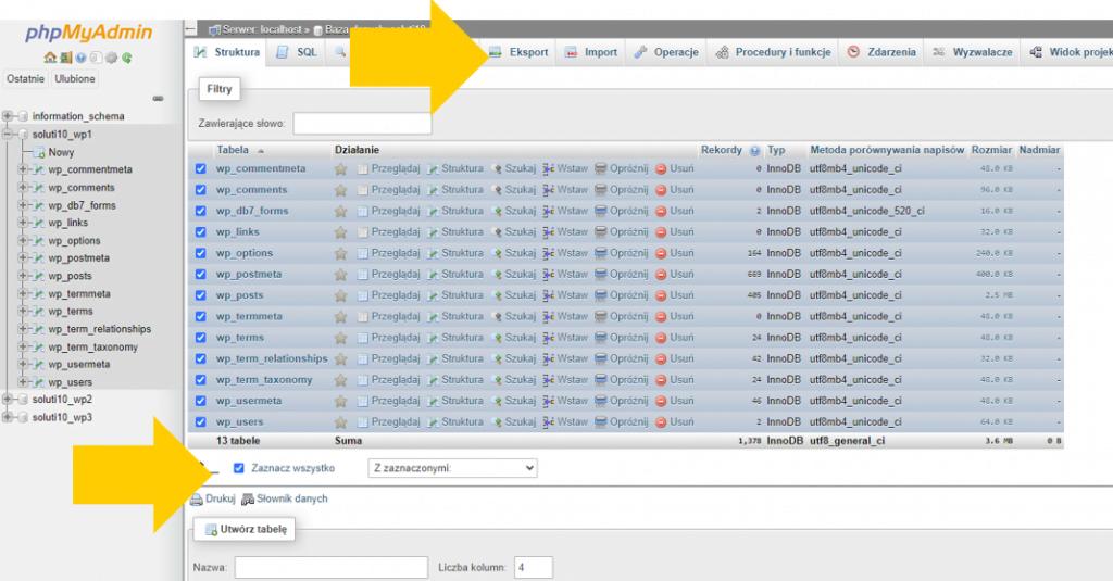 BackupWordPress - jak wykonać eksport bazy danych w phpMyAdmin