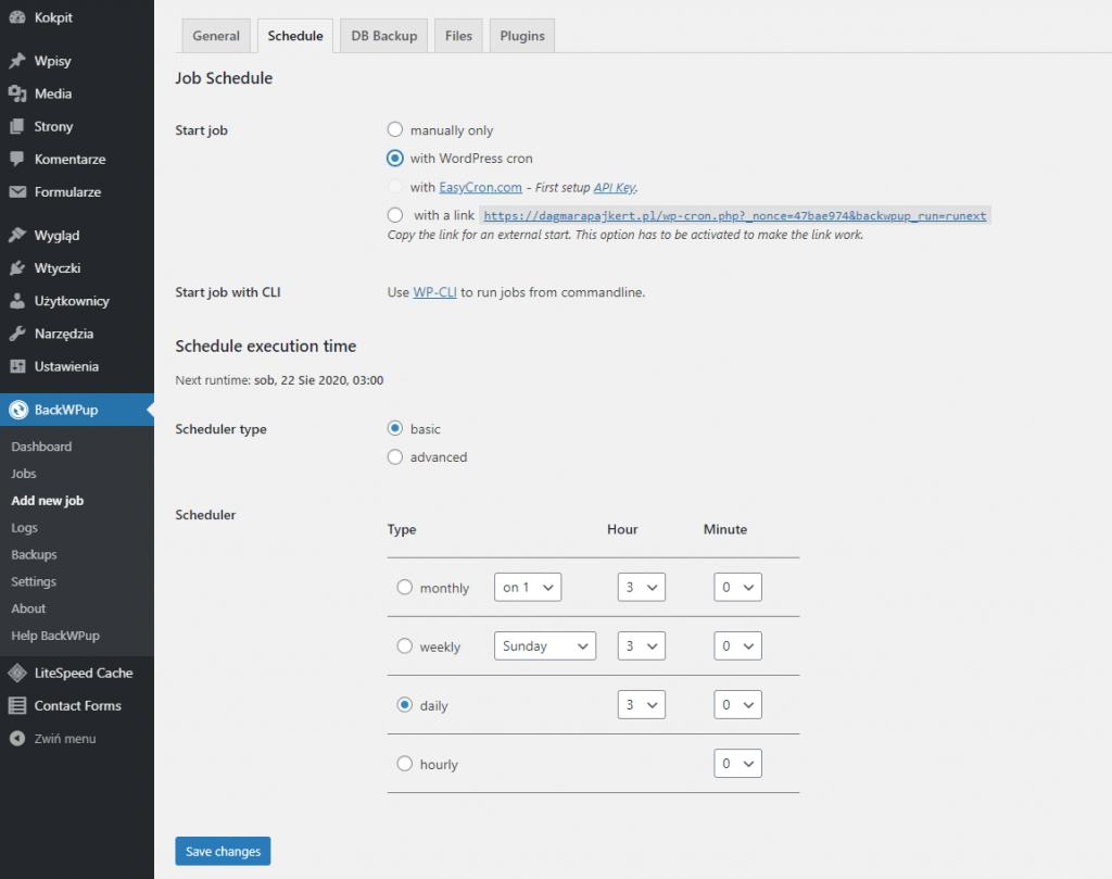 Panel wtyczki bo backupu WordPress - backWpUp! zapewnia wygodne sterowanie harmonogramem.