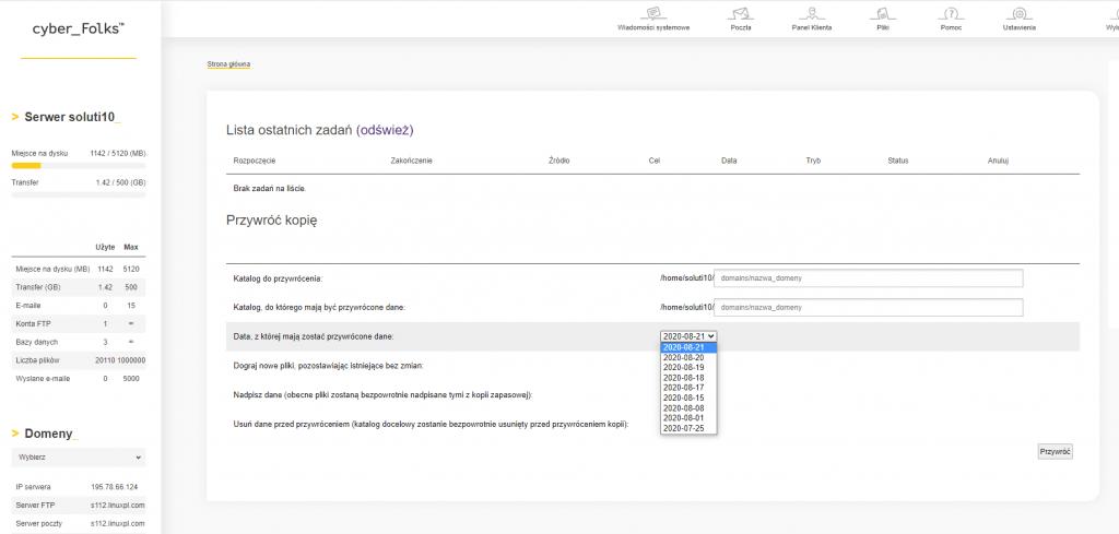 Wybór miejsca przywracania oraz wersji kopii zapasowej na przykładzie panelu hostingowego DirectAdmin