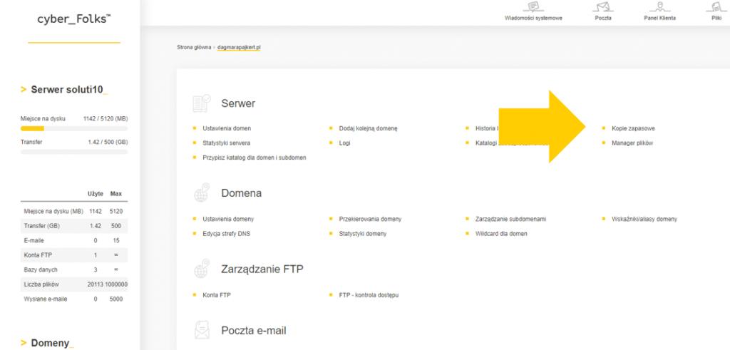 Jak przywrócić kopię zapasową na Twoim hostingu WordPress? Zrzut ekranu z panelu cyber_Folks.