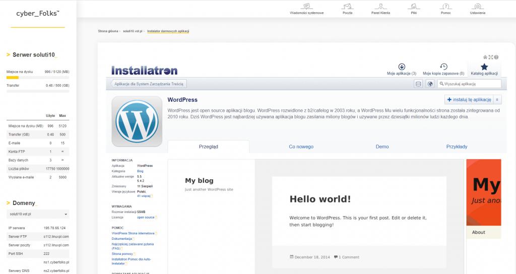 Prosta instalacja WordPress w panelu cyberfolks.pl
