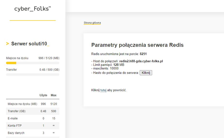 Zrzut ekranu z panelu DirectAdmin w cyberfolks.pl - aktywacja serwera REDIS