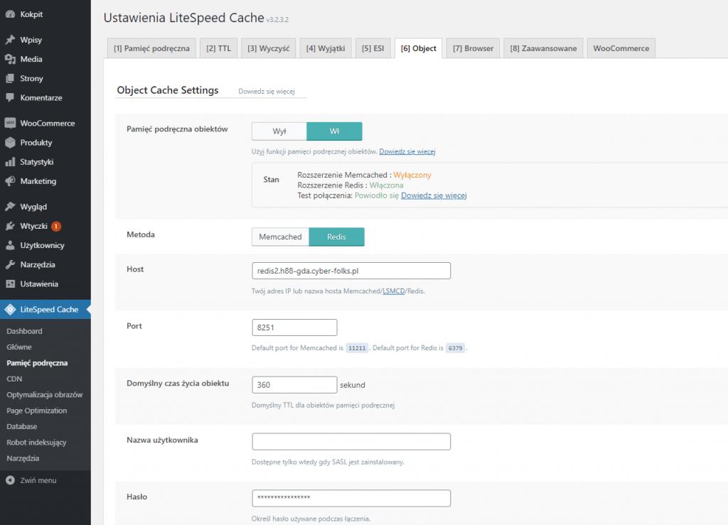 Zrzut ekranu kokpitu z konfiguracją wtyczki LiteSpeed Cache - REDIS i Object Cache