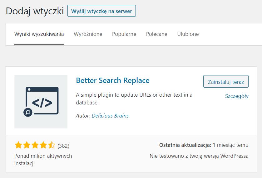 instalacja wtyczki Better Search Replace