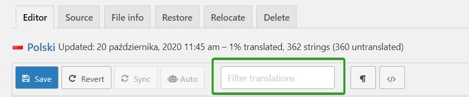 wyszukiwarka fraz w Loco Translate