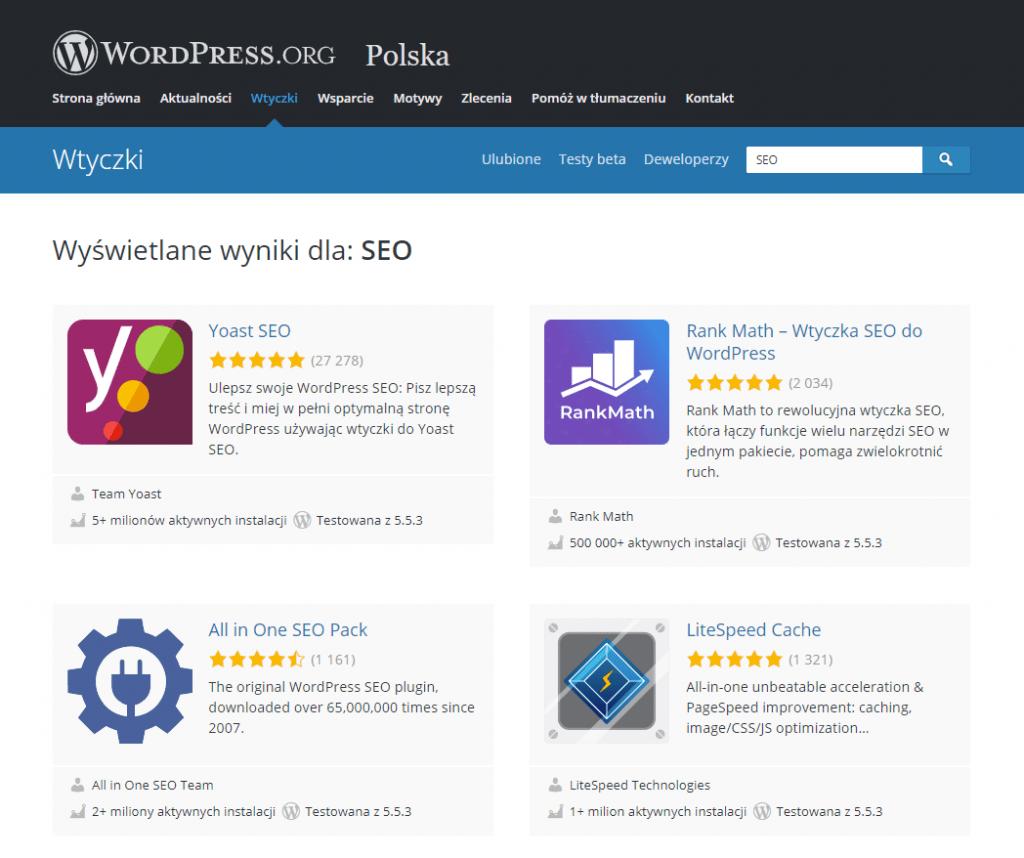 Yoast SEO w wyszukiwarce repozytorium WordPress