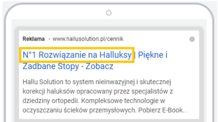 przykład reklamy Google Ads - błędy w reklamach