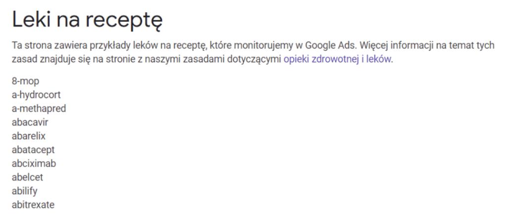 lista leków Google Ads -  błędy w reklamach