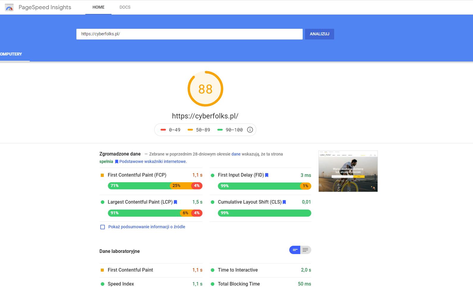 Hosting seo a pomiar core web vitals - są one widoczne już w PageSpeed Insights