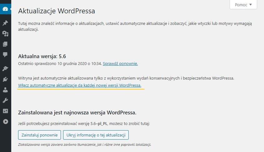 włączanie automatycznych aktualizacji WordPress 5.6