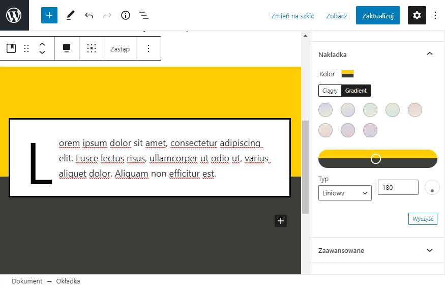 ustawienia gradientów w WordPress 5.6