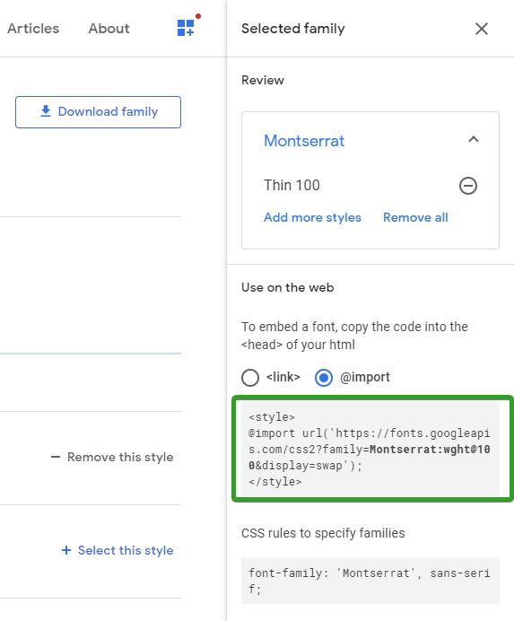 Dodawanie fontu Google za pomocą funkcji @import w CSS