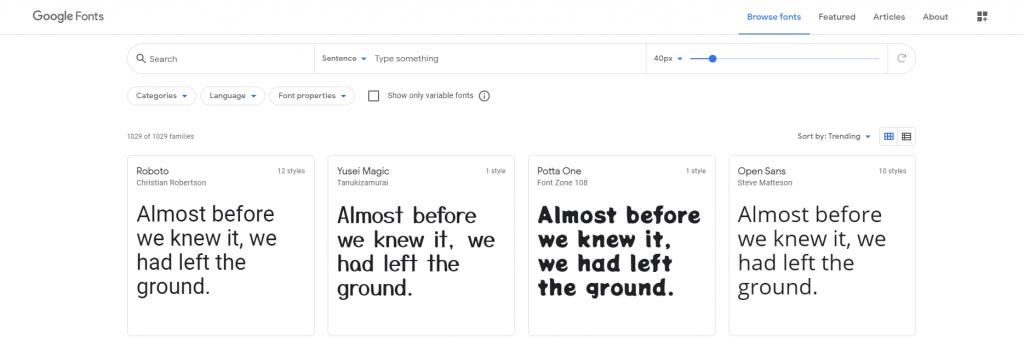 strona Google Fonts