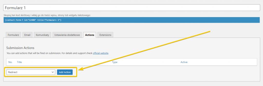 dodawanie nowej akcji do formularza kontaktowego w WordPressie