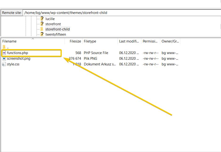 edytuj plik functions.php wykorzystując klienta FTP