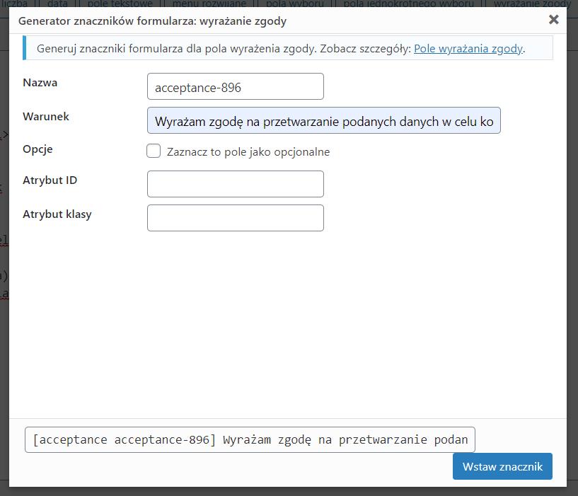 generator znacznika wyrażania zgody w Contact Form 7