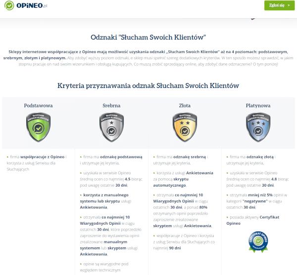 System certyfikatów na przykładzie opineo.pl
