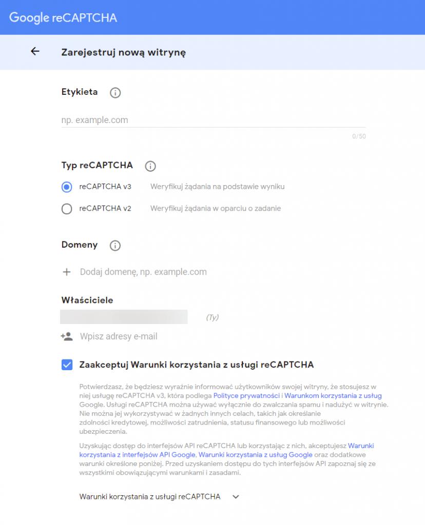 uzyskiwanie reCaptcha Google
