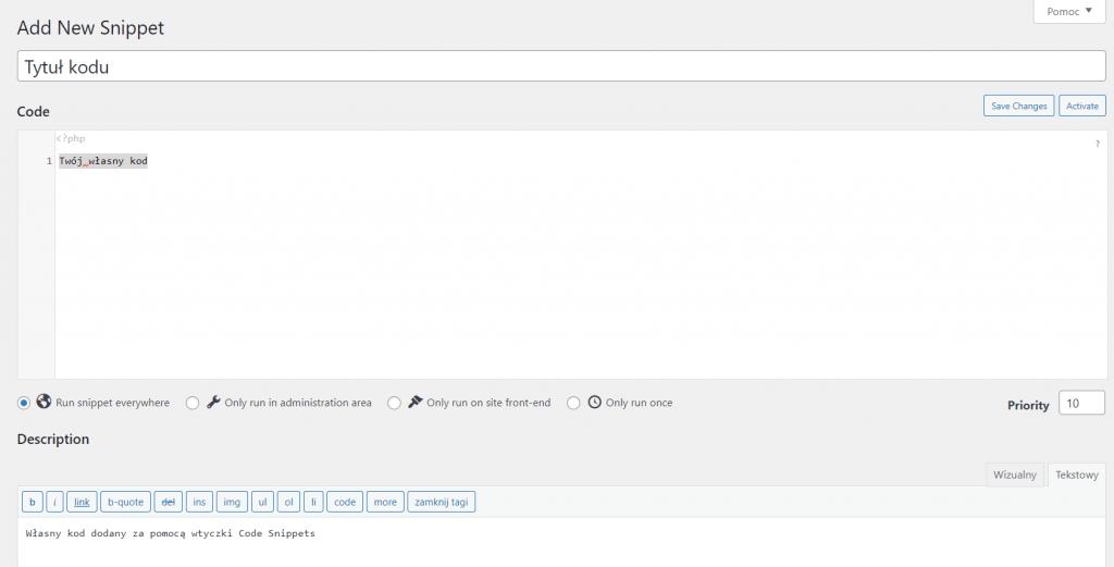 własny kod stworzony przez wtyczkę Code Snippets