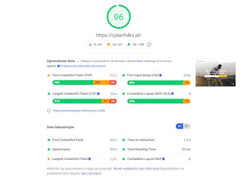 Jak przyspieszyć stronę na wordpress - zrzut ekranowy z pagespeed insights